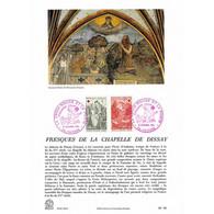 Encart Sur Papier Glacé - Croix-rouge, Fresques De La Chapelle De Dissay - 12/12/1970 Poitiers - Postdokumente