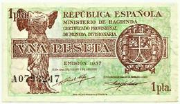 ESPAÑA - 1 Peseta - 1937 - Pick 94 - Serie A - Guerra Civil War Spain - 1-2 Peseten