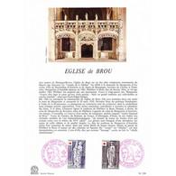 Encart Sur Papier Glacé - La Croix-rouge Et La Poste, église De Brou - 20/11/1976 Bourg-en-Bresse - Postdokumente