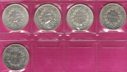 FRANCE Monnaies  Lot 5 Pièces Hercule 10 Francs Argent 1965/66/67/68/70 - K. 10 Franchi