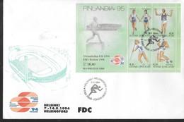 FINLANDE  FDC 1994 Course Javelot Saut En Longueur - Atletismo