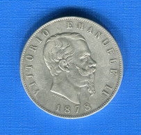 Italie  5  Lire  1878 R - 1861-1878 : Victor Emmanuel II