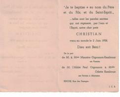 Christian Gigounon, Né à Binche En 1938.Parrain L'Abbé Paul Gigounon , Marraine Odette Ramboux - Imágenes Religiosas