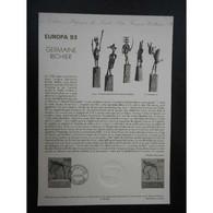 Document Officiel La Poste - Europa 1993. Germaine Richier - Postdokumente
