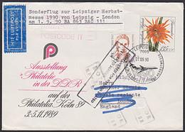 DDR U10 135 Pf  Feuerzauber Sonderflug Herbstmesse 1990 Leipzig - London Mit BRD-Marke MiF - Covers - Used