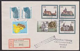 DDR U2 Burgen R-Bf Mit MiF Berlin Bund DDR Und DDR-DM-Währung Rochsburg Burg Stein Schwarzenberg - Sobres - Usados