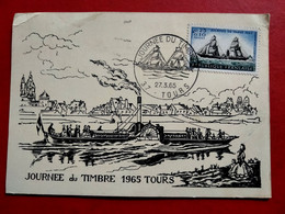 CPA FRANCE MAXIMUM CARD - JORNÉE DU TIMBRE TOURS 1965 - PAQUEBOT (IT#4085) - 1960-69