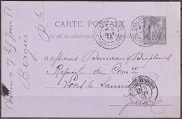 DAGUIN 2 BD Sur Entier CPA Sage 10c De 71 CHALON S.SAONE Posté Le 5 Juin 1886 Pour 39 LONS LE SAUNIER - Standard Postcards & Stamped On Demand (before 1995)