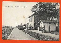 11 Marcorignan Cpa La Gare Avec Locomotive RARE TB Animée éditeur Louis Pastre Dos Scanné - Otros Municipios