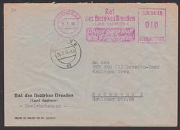"""Dresden ZKD-AFS Rat Des Bezirkes (Land Sachsen) 24.7.59 """"Unsere Ganze Kraft Dem Fünfjahrplan!"""", Mit 10 Pfg. Unterfrank. - Official"""