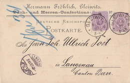 DR Karte Mef Minr.2x 40 K1 Gleiwitz 6.11.87 Gel. In Schweiz - Covers & Documents