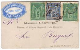 Sage Obl Perigueux Dordogne SUR CARTE DE VISITE Expediee Par Son Imprimeur , Etiquette Publicitaire , RARE AINSI - 1877-1920: Période Semi Moderne