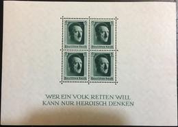 GERMAN REICH 1937 Hitler Birthday Souvenir Sheet Mint ** B102 (Mi.646 Block7) - Blocks & Sheetlets