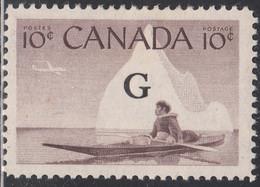 Canada 1953-55 MH Sc #O39 G On 10c Inuk And Kayak - Surchargés