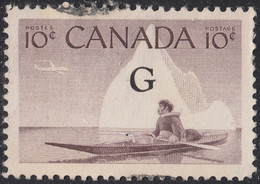 Canada 1953-55 Used Sc #O39a Flying G On 10c Inuk And Kayak - Surchargés