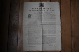 AFFICHE MANDEMENT DE MONSEIGNEUR L'EVEQUE ET COMTE DE VALENCE 1715 MORT DE LOUIS XIV - Diplomi E Pagelle