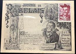 Carte Journée De Rabelais N°000632  - Avec Timbre N°866 Et Cachet De St Maur Des Fossés Du 08/10/1950 - Cachets Commémoratifs