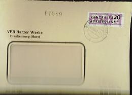 DDR: ZKD-Brief Mit 20 Pf EF Vom VEB Harzer Werke Blankenburg (Harz) Vom 8.10..57 Nach Berlin Knr: B 11 (7019) - Official