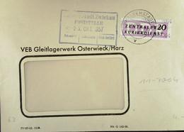 DDR: ZKD-Brief Mit 20 Pf EF Vom VEB Gleitlagerwerk Osterwieck/Harz V 23.10..57 An Rat Der Stadt Zwickau Knr: B 11 (7004) - Official