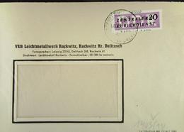 DDR: ZKD-Brief Mit 20 Pf EF Vom VEB Leichtmetallwerk Rackwitz Kr. Delitzsch Vom 11.7.57 Nach Dresden Knr: B 11 (1403) - Official