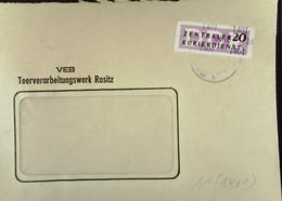 DDR: ZKD-Brief Mit 20 Pf Vom VEB Teerverarbeitungswerk Rositz Vom 21.10.57 Nach Riesa Knr: B 11 (1401) - Official