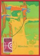Olympiade Spiele  MUNCHEN 1972  Tir à L'Arc ( Bogen-Schiessen ) - Cartas Máxima