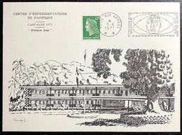 """Carte Du Centre D'expérimentations Du Pacifique - Avec Timbre N°1611 Et Cachet """"poste Aux Armées Du 05/06/1971 - Cachets Commémoratifs"""