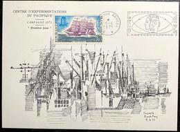 """Carte Du Centre D'expérimentations Du Pacifique - Avec Timbre N°1674 Et Cachet """"poste Aux Armées Du 05/06/1971 - Cachets Commémoratifs"""