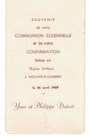 Yves Et Philippe Dutoit, Communion à Woluwé Saint Lambert En 1959 - Imágenes Religiosas