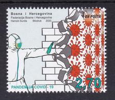 Bosnia Sarajevo 2020 Covid 19 Health Disease Medicine Doctors Stamp MNH - Krankheiten