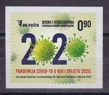 Bosnia Sarajevo 2020 Covid 19 Health Disease Medicine Personalized Stamp MNH - Krankheiten