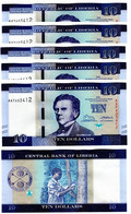 Liberia - 10 Pcs X 10 Dollars 2016 UNC Lemberg-Zp - Liberia