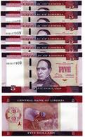 Liberia - 10 Pcs X 5 Dollars 2016 UNC Lemberg-Zp - Liberia