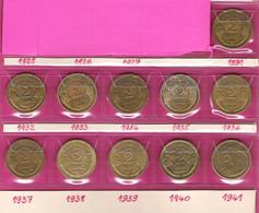 FRANCE Monnaies  Lot 11 Pièces 2 Francs Morlon Bronze Alu G535 Complet 1931 à 1941 - I. 2 Francs