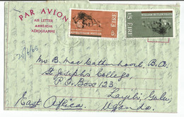 IRELAND - 1965 - Aerogramme Sent From Dublin To Uganda - William Butler Yeats 5p And 1/5 Stamps - Covers & Documents