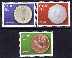 IRELAND - 2002 EURO CURRENCY SET (3V) FINE MNH ** SG 1506-1508 - Unused Stamps