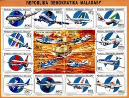 Madagascar 1990 1993 Airlines Royal Jordanian, ANA, Air Canada, Air France, Concorde, Lufthansa, British Airways Etc - Airplanes