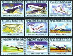 Madagascar 1998 Concorde Tupolev 144, Aérospatiale STS 2000, NASA Space Shuttle, ESA Hermès, Airbus A-340 - Airplanes