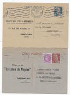 2 Entiers  CP Type GANDON  Repiquage  LAINE DE MEGEVE , PILES WONDER - Overprinter Postcards (before 1995)