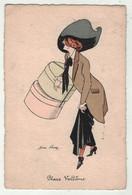 Illustrateurs Signés // Xavier Sager // Femme  Fashionista (Suit La Mode) Avec Chapeau - Sager, Xavier