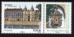 France - 2010 - Consiergerie In Paris - 83rd Philatelic Congress - Mint Stamp With Coupon - Ongebruikt