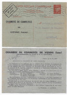 Entier  CP Type PETAIN Carte Commerciale Repiquage CHAMBRE DE COMMERCE VIENNE ISERE Pièce Intéressante - Overprinter Postcards (before 1995)
