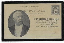 Entier  CP10c Type SAGE Repiquage MEMOIRE De FELIX FAURE Modèle Rare - Overprinter Postcards (before 1995)