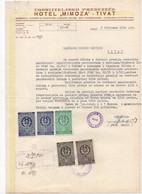 1960 YUGOSLAVIA,MONTENEGRO,TIVAT,HOTEL MIMOZA,LETTERHEAD,5 STATE REVENUE STAMPS - Covers & Documents