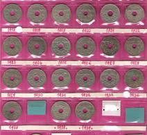 FRANCE Monnaies  Lot 21 Pièces 25 Centimes Lindauer G380 Complet 1917 à 1937 + G381 1938/39 - F. 25 Centimes