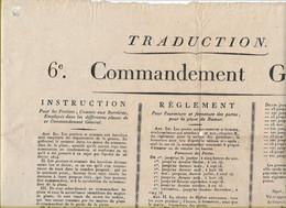 -NAMUR;6ième.COMMANDEMENT GENERAL;FOURNITURE Des Troupes.Instructions Pour Les Portiers Aux - Affiches