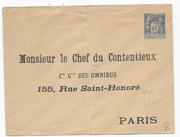 Entier Enveloppe TSC  Timbre15c Type SAGE Cie Des OMNIBUS PARIS Grand Pli Central. - Standard Covers & Stamped On Demand (before 1995)