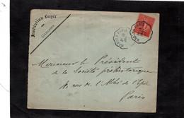 LSC 1907 - Entête GARCHES - INSTITUTION BONER - Cachet Convoyeur MARLY  A  PARIS - YT 129 - 1877-1920: Periodo Semi Moderno