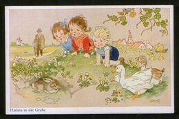 Germany Old Postcard AK Fritz Baumgarten. Häslein In Der Grube - Children, Rabbit And Goose - Baumgarten, F.