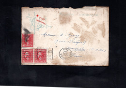 """LAC 1921 - Entête Paquebot """"LORRAINE"""" & Courrier A BORD De """"LORRAINE"""" - Cachet NEW YORK Au Dos Cachet MARSEILLE - Boats"""